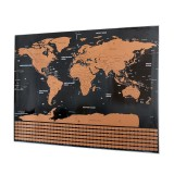 School Teaching Office Supplies Scratch World Map with National Flags