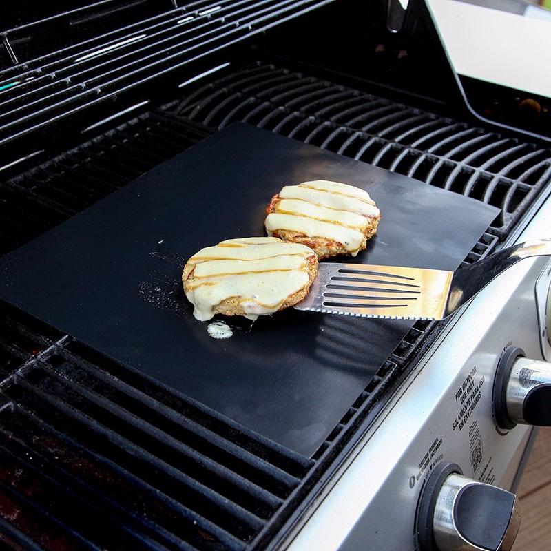5 PCS 0.2mm Thick Barbecue Grill Mat Non-Stick BBQ Grill Mats (Black)