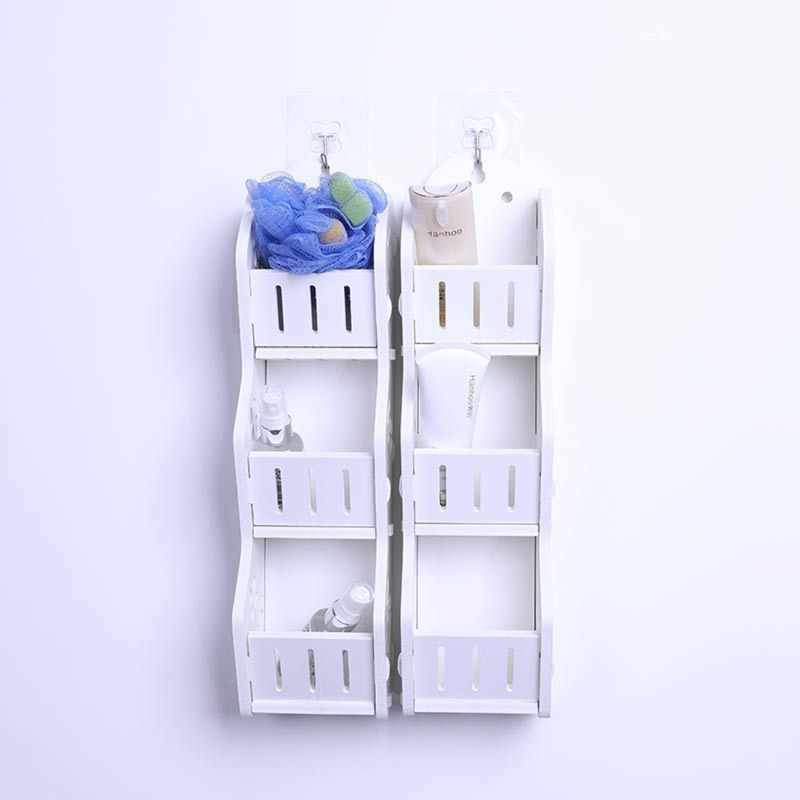 Fashion Bathroom Three Layers Storage Shelf Toilet Storage Rack Wall Mounted Storage Holder Wall Mount Shelves, Random Style Delivery
