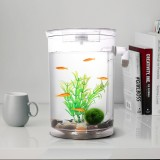 Round Plastic Creative Ecological Desktop Mini Aquarium Gold Fish Bowl, Lazy Water Tank with Cobblestone, Tree Plant Grass and LED Light