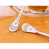 Stainless Steel Tea Leaf Filtered Drinking Straw Herb Tea Filter Tea Strainer Juice Cafe Coffee Stirring Spoon