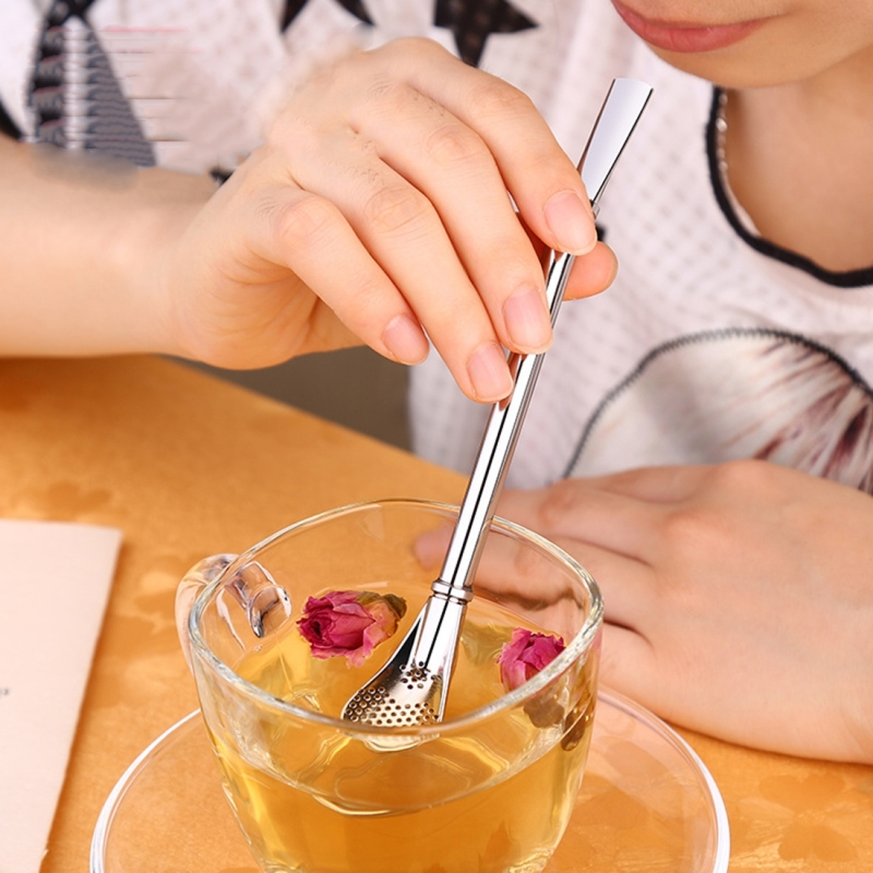 Stainless Steel Tea Leaf Filtered Drinking Straw Herb Tea Filter Tea Strainer Juice Cafe Coffee Stirring Spoon