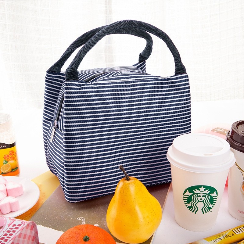 Multifunctional Thicken Stripe Cloth Lunchbox Bag Handbag Lunch Heat Preservation Cold Insulation Storage