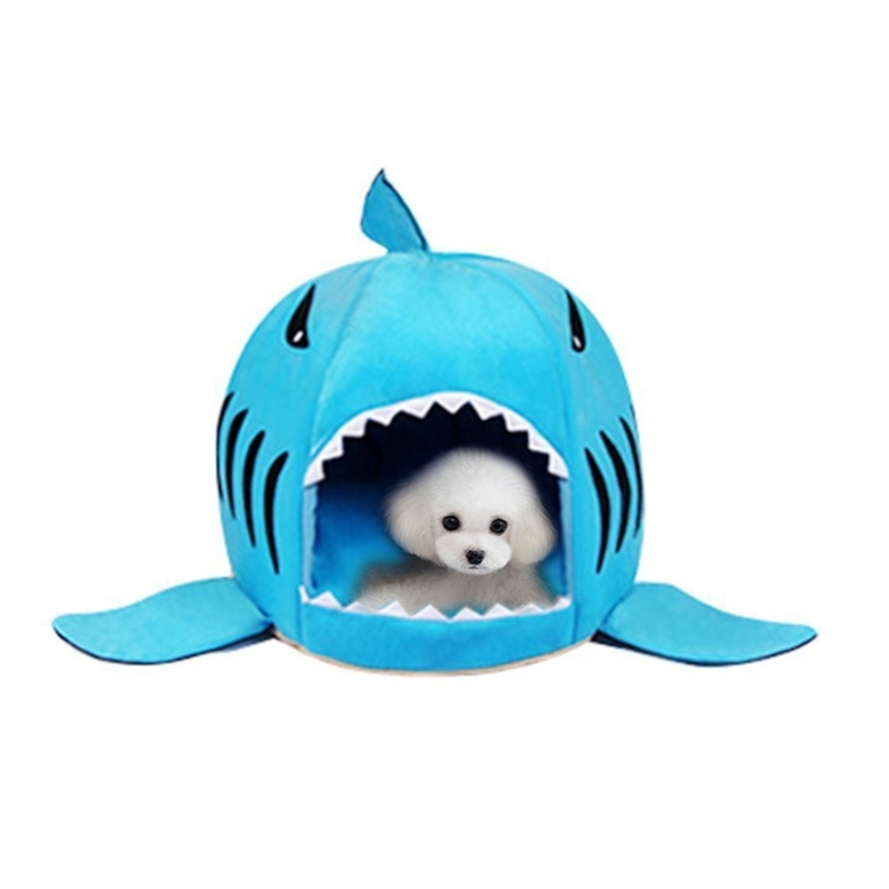 Indoor Pet Dog Puppy Cat Warm House Sharks Pet Sleeping Bed Nest (Blue)