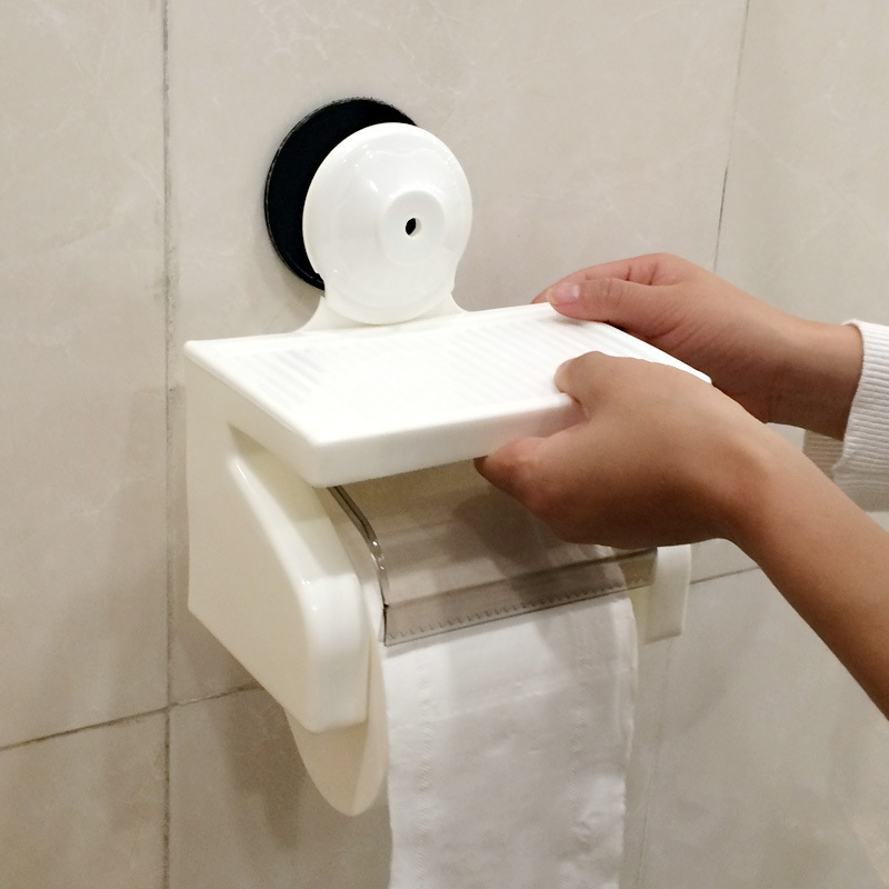 Toilet Bathroom Tissue Boxes Napkin Wall Super Strong Sucker Sucking Disc Tissue Case Tissue Storage Racks, Suitable for 95*100mm Roll of Paper