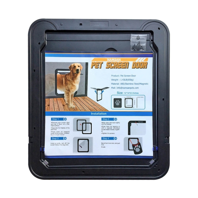 Pet footprint pattern dog auto lock lockable gate cat for Automatic locking dog door