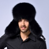 Winter New Style Fox Hair LeiFeng Men Hats, Thick Warm Middle and Old People Ear Protection Winter Fur Hat (Black)