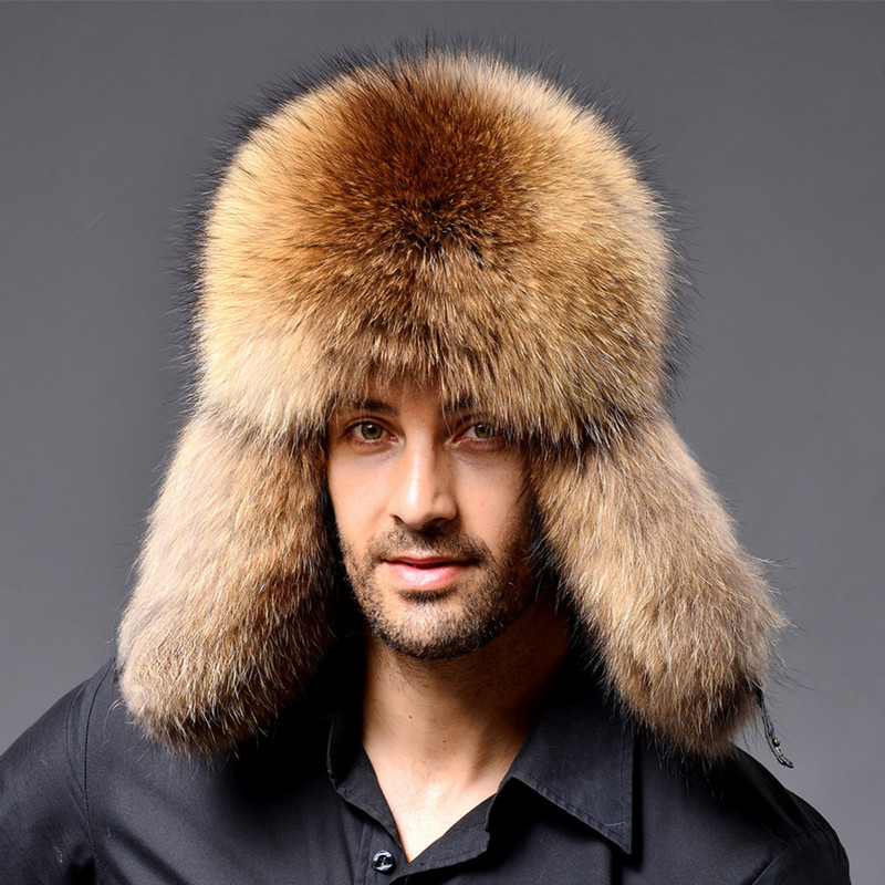 e22dbad2a Winter New Style Fox Hair LeiFeng Men Hats, Thick Warm Middle and Old  People Ear Protection Winter Fur Hat (Khaki)