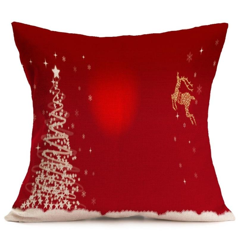 Christmas Festival Pattern Car Sofa Pillowcase with Decorative Head Restraints Home Sofa Pillowcase, E, 43*43cm