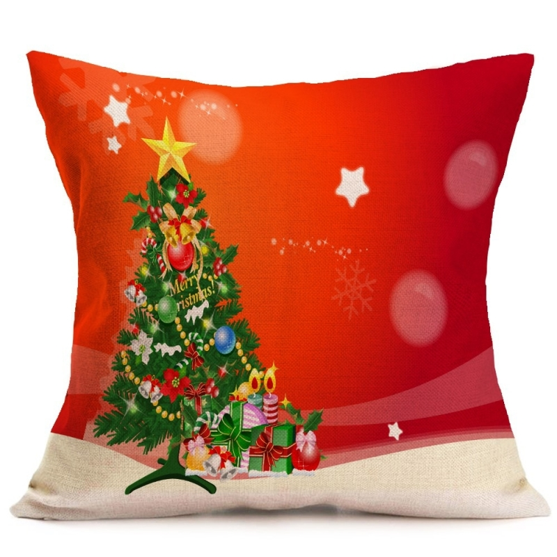 Christmas Festival Pattern Car Sofa Pillowcase With