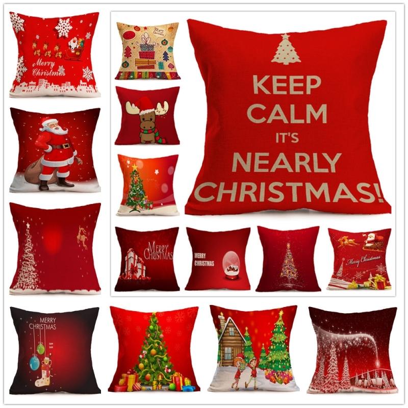 Christmas Festival Pattern Car Sofa Pillowcase with Decorative Head Restraints Home Sofa Pillowcase, F, 43*43cm