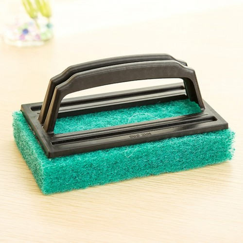 2 PCS Bathroom Bathtub Brush CeramicTile Brush Kitchen Strong Decontamination Brush Home Furnishing Creative Sponge Cleaning Brush with Handle (Random Color)