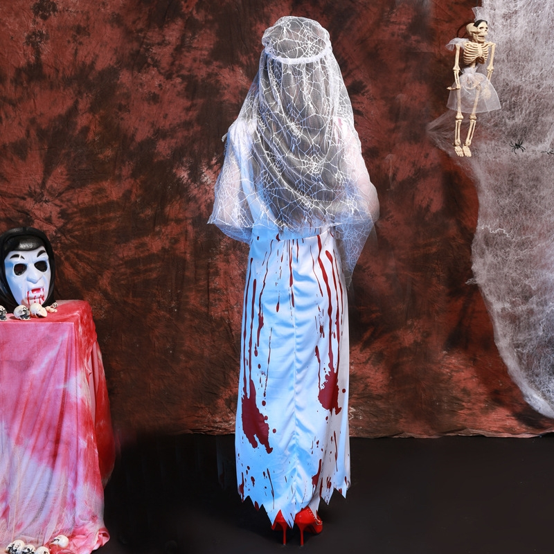 Halloween Party Adult Women Lace Cosplay Clothing Corpse Bride Dress Ghost Bride Cosplay Halloween Bloody Bridal Wear Costumes, Chest: 70-100cm, Waistline: 72-92cm, Sleeve Length: 58cm, Total Length: 131cm