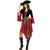Cruel Seas Captain Buccaneer Pirate Cosplay Costume Women Sexy Halloween Fancy Dress Clothing, Chest: about 90cm, Waistline: about 76cm