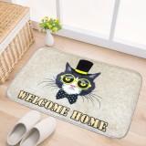 Door Mat Cat and Dog Pattern Flannel Rectangular Bathroom Carpet Living Room Bedroom Anti – skid Household Foot Pad