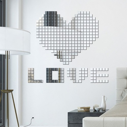 100 PCS Square Crystal Mosaic Mirror Acrylic Stereo Wall Stickers Creative Background Home Living Room Wall Sticker (Silver)