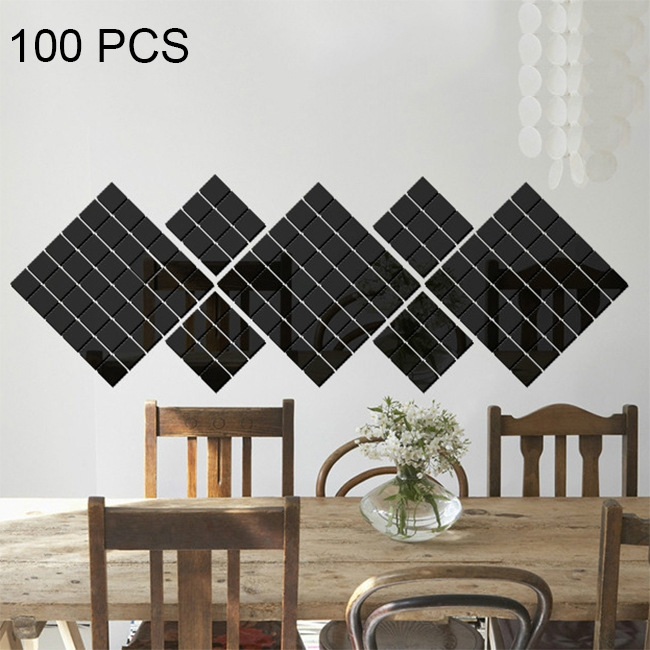 100 PCS Square Crystal Mosaic Mirror Acrylic Stereo Wall Stickers Creative Background Home Living Room Wall Sticker (Black)