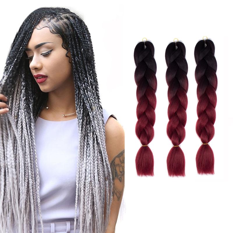 Fashion Color Gradient Individual Braid Wigs Big Braids, 60cm (Black+Wine Red)