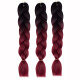 Fashion Color Gradient Individual Braid Wigs Big Braids, 60cm (Black+Wine Red)