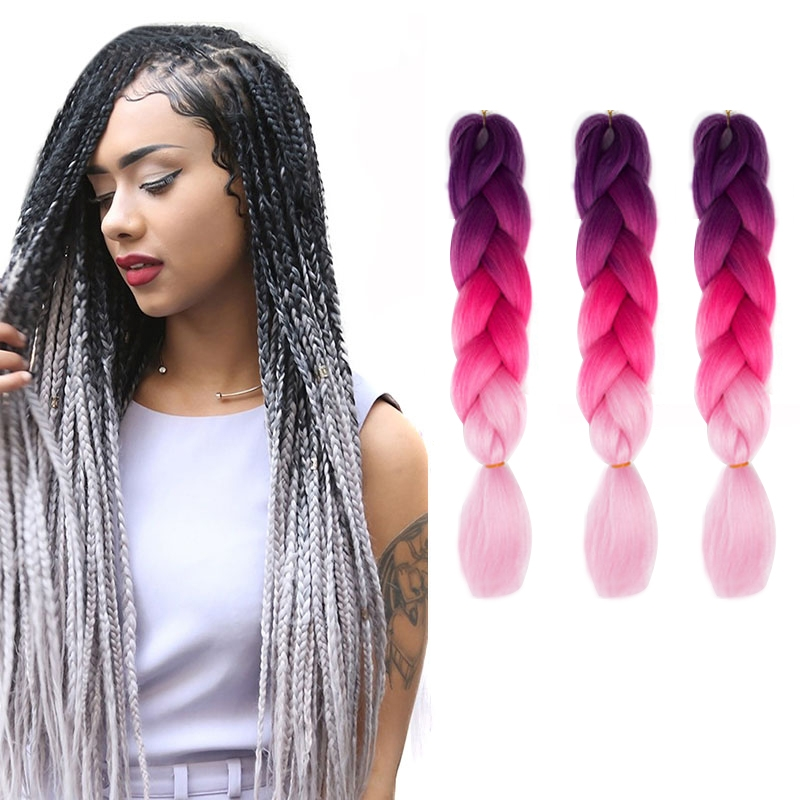 Fashion Color Gradient Individual Braid Wigs Big Braids, 60cm (Purple+Peach Pink)