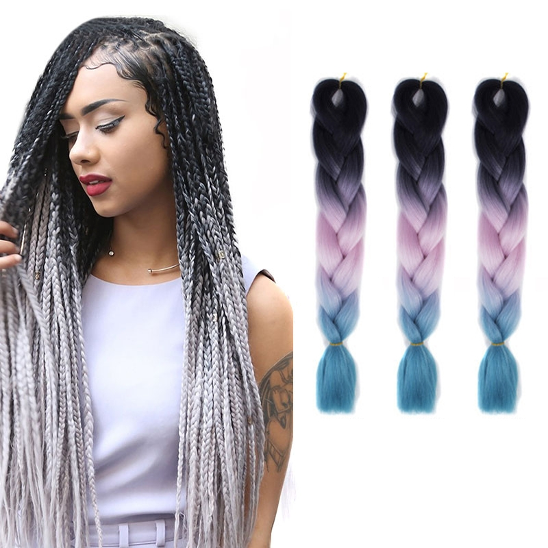 Fashion Color Gradient Individual Braid Wigs Big Braids, 60cm (Black+Pink+Lake Blue)