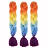 Fashion Color Gradient Individual Braid Wigs Big Braids, 60cm (Orange+Yellow+Blue)