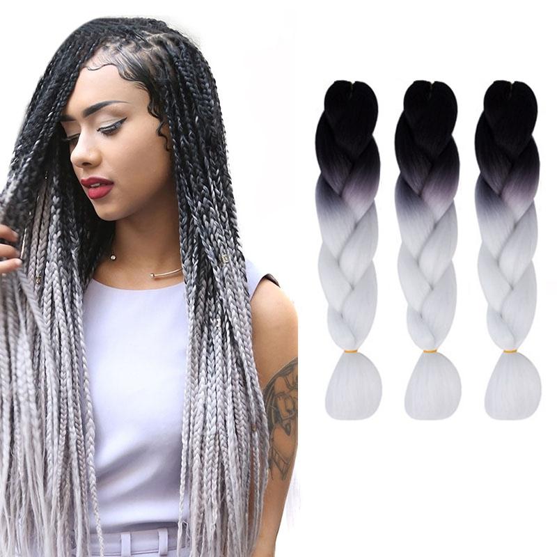 Fashion Color Gradient Individual Braid Wigs Big Braids, 60cm (Black+White)
