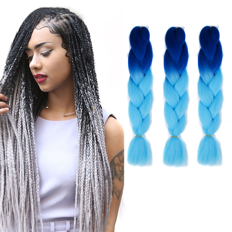 Fashion Color Gradient Individual Braid Wigs Big Braids, 60cm (Navy Blue+Sky Blue)
