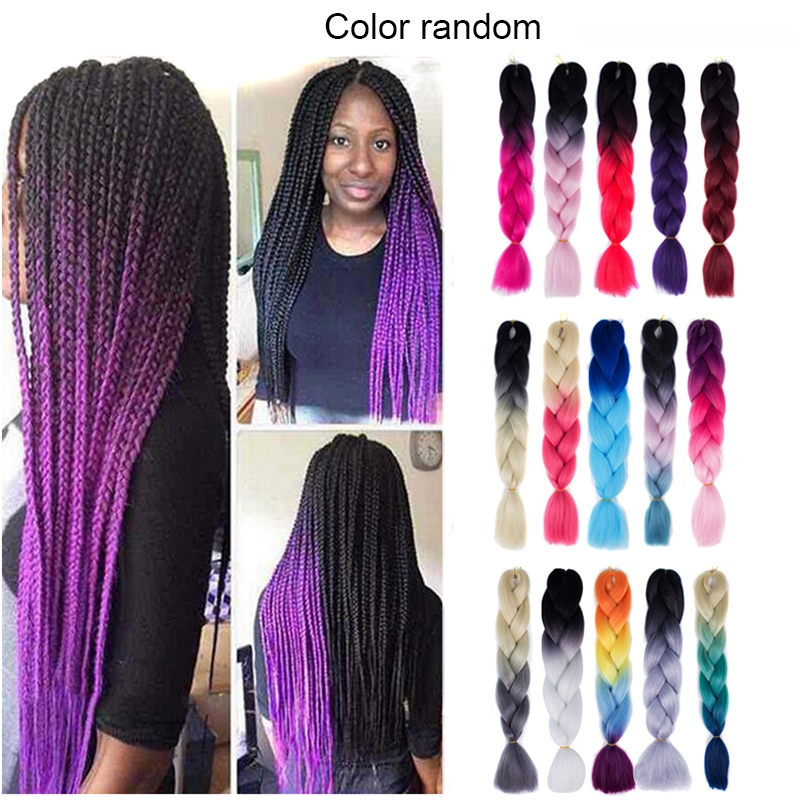 Fashion Color Gradient Individual Braid Wigs Big Braids, Random Color Delivery, 60cm