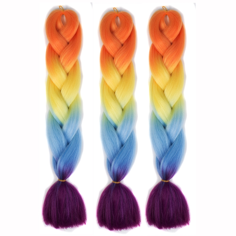 Fashion Color Gradient Individual Braid Wigs Big Braids, Random Color Delivery, 60cm