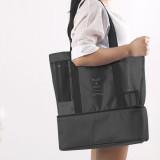 Portable Double Layer Mesh Sport Duffel Beach Picnic Shoulder Storage Bag Handbag (Black)
