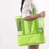 Portable Double Layer Mesh Sport Duffel Beach Picnic Shoulder Storage Bag Handbag (Green)