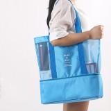 Portable Double Layer Mesh Sport Duffel Beach Picnic Shoulder Storage Bag Handbag (Blue)