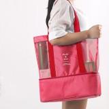 Portable Double Layer Mesh Sport Duffel Beach Picnic Shoulder Storage Bag Handbag (Red)