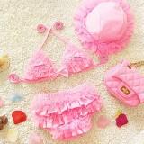 Baby Girl Bikini Lace 3 Pieces Bikini Set Cute Swimsuit with Hat, L (Pink)