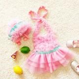 Baby Girl Princess Lace Bowknot Bikini Set Siamese Dress Cute Swimsuit with Hat, L (Pink)