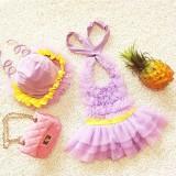Baby Girl Princess Lace Bowknot Bikini Set Siamese Dress Cute Swimsuit with Hat, L (Purple)