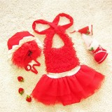 Baby Girl Princess Lace Bowknot Bikini Set Siamese Dress Cute Swimsuit with Hat, XXL (Red)