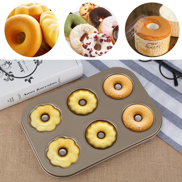 3 Flowers Type Donuts Cookie Mold Gold 6 Cups Cake Mold Baking Mold Cake Tools Bakeware Kitchen Accessories