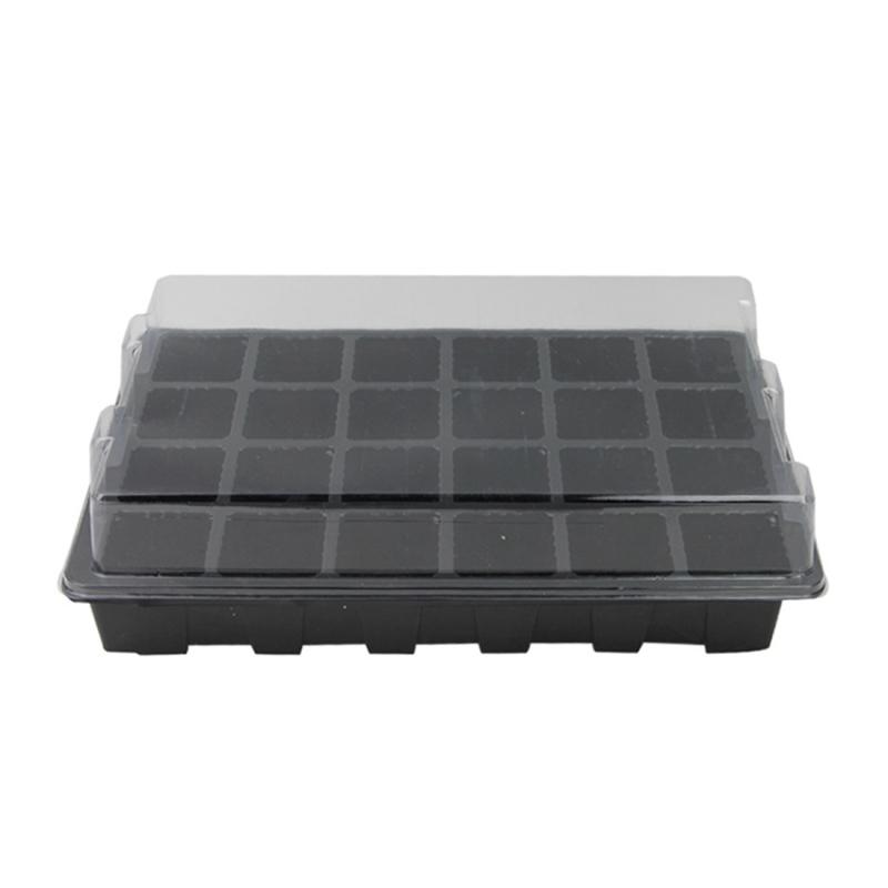 2 PCS Seedling Tray Sprout Plate 24 Holes Nursery Pots Tray Lids Box For Gardening Bonsai Mini Greenhouse Nursery Plate Three Sets