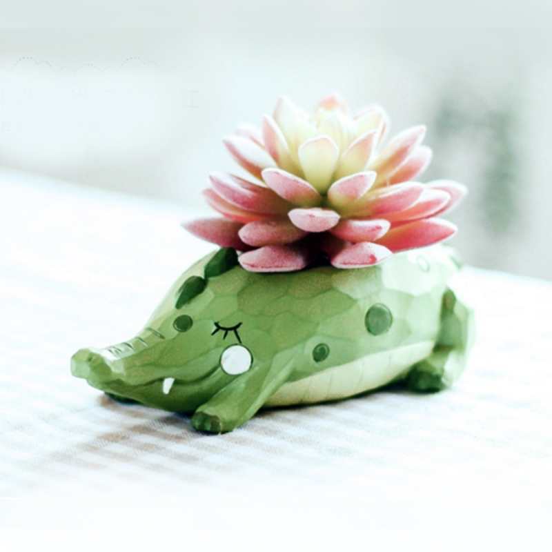 225 & Lovely Home Garden Office Resin Cartoon Animal Crocodile Shaped Plant Flower Pot Decoration Animal Flower Pots Planter