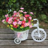 Pretty Small Size Flower Basket Vase Handmade Rattan Baskets Tricycle Bicycle Home Decor Garden Wedding Party Decoration, Random Silk Ribbon Color Delivery