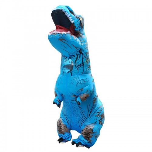 Inflatable Dinosaur Adult Costume Halloween Inflated Dragon Costumes Party Carnival Costume for Women Men (Blue)