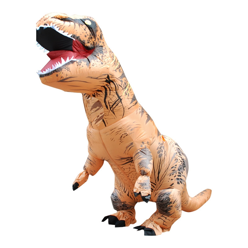 Inflatable Dinosaur Adult Costume Halloween Inflated Dragon Costumes Party Carnival Costume for Women Men (Brown)
