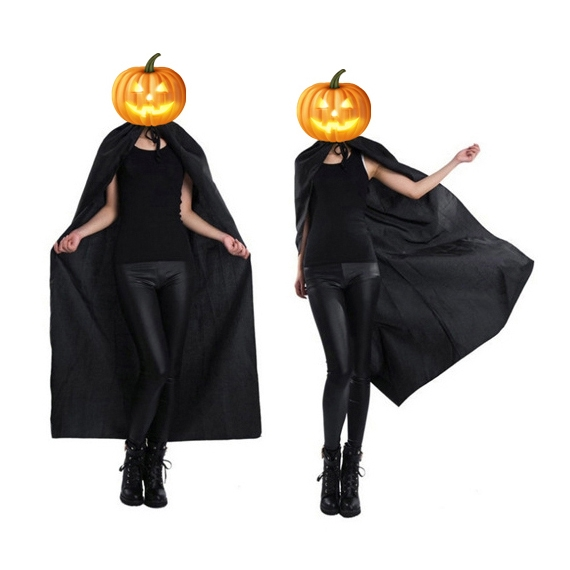Adult Cape Halloween Devil Cloak Costume Festival Party Fancy Robe Shawl Costumes with Cap for Women Men (Black)