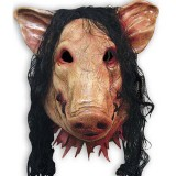 Halloween Mask Latex Pig Head Cap Halloween Festival Party Fancy Pig Face Masquerade Masks with Hair
