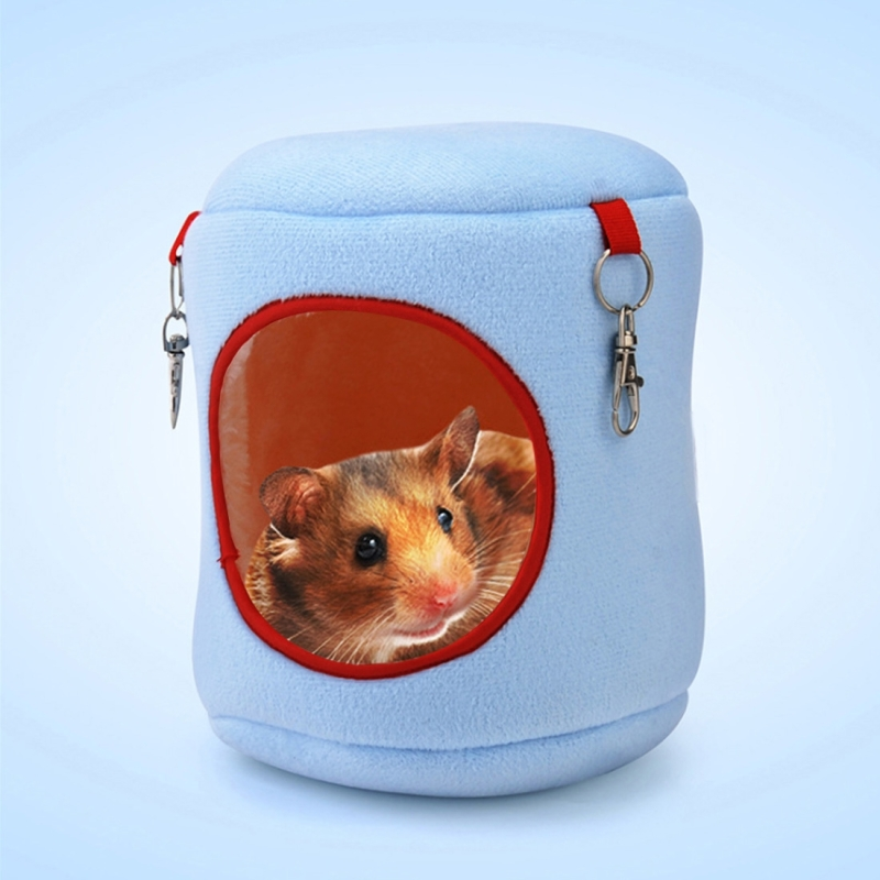 Flannel Cylinder Pet House Warm Hamster Hammock Hanging Bed Small Pets Nest (L) (Blue)