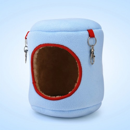 Flannel Cylinder Pet House Warm Hamster Hammock Hanging Bed Small Pets Nest (XL) (Blue)