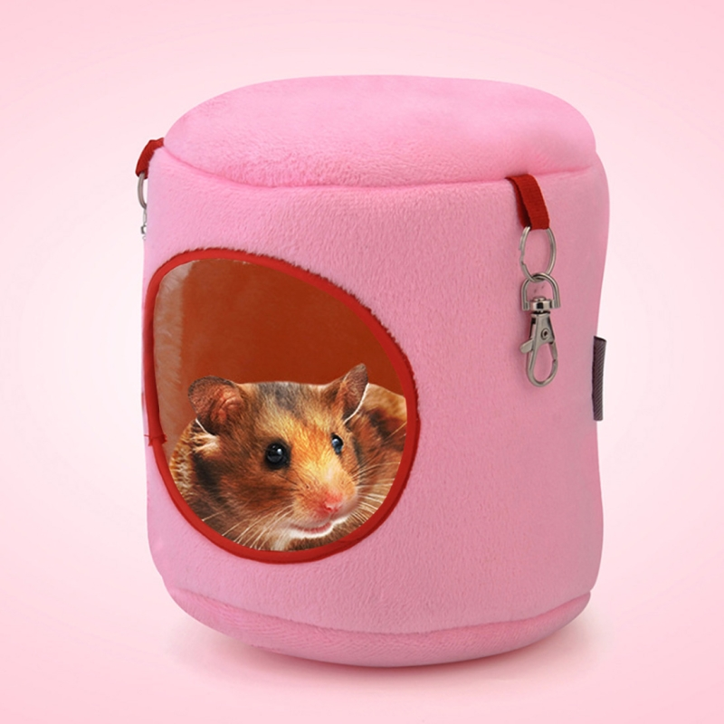 Flannel Cylinder Pet House Warm Hamster Hammock Hanging Bed Small Pets Nest (M) (Pink)
