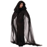 Halloween Costume Night Wandering Soul Ghost Dress Witch Dress Nightclub Rave Party Service, M, Bust: 76-90cm, Clothes Long: 148cm, Cloak Length:220cm